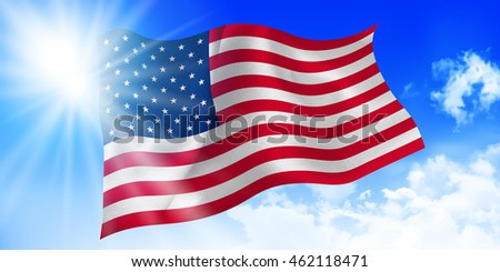 America national flag sky background
