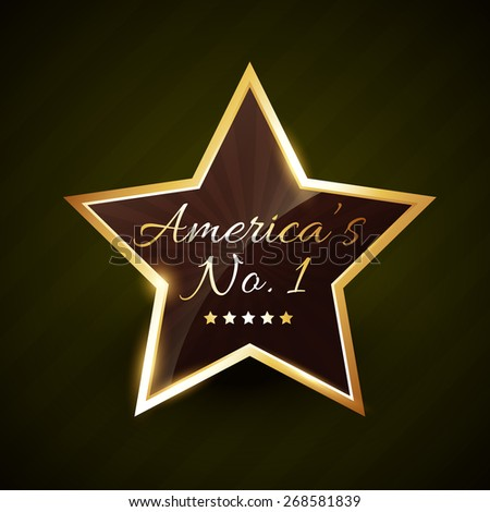 america number one no.1 vector label golden design - stock vector