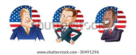 America presidents caricature - stock vector