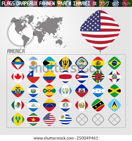 America's Flags, rhombus shape, complete collection - stock vector