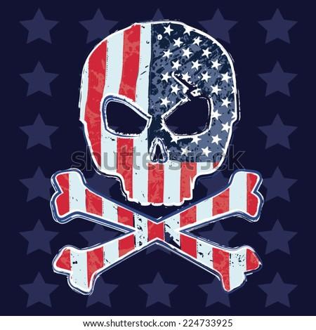 America skull flag, typography, vectors, t-shirt graphics - stock vector