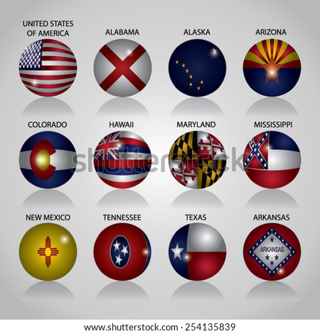 America State Flags Buttons - stock vector