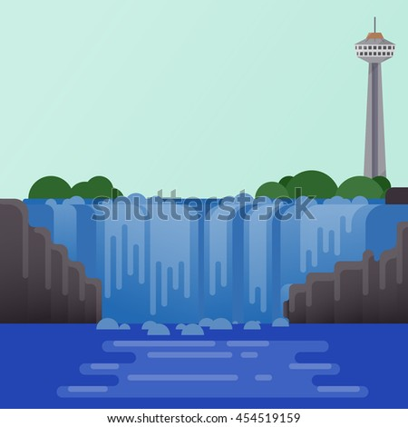 America travel attraction set 7 of 9 . Niagara falls background flat design.