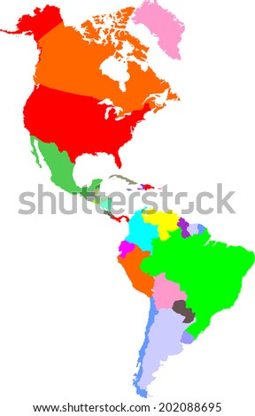 america vector map - stock vector