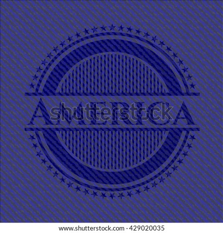 America with jean texture - stock vector