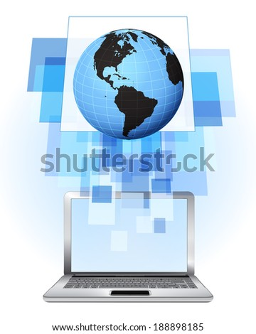 America world globe in laptop internet searching frame idea vector illustration