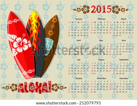 American Aloha vector calendar 2015 with surf boards, starting from Sundays - stock vector
