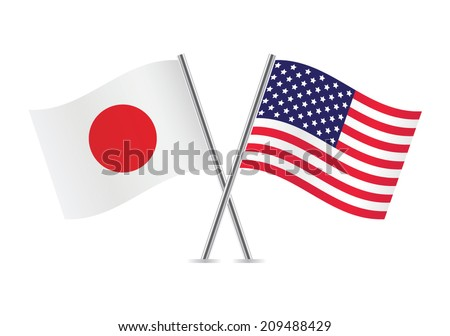 American and Japanese flags. Vector illustration. - stock vector