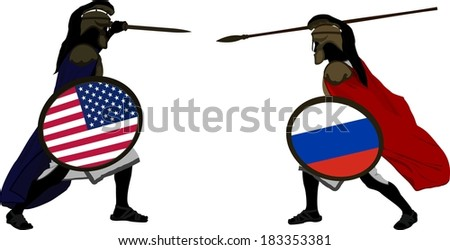 american and russian warriors. vector illustration - stock vector
