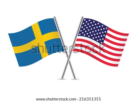American and Swedish flags. Vector illustration. - stock vector