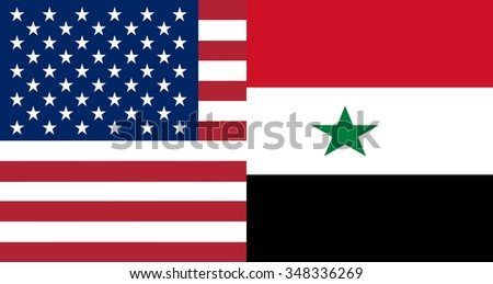 American and Syrian flags together in correct colors - stock vector