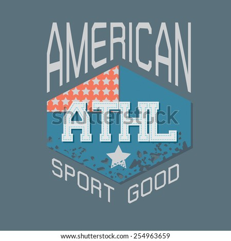 American athletic typography for T-shirt design,vector illustration - stock vector