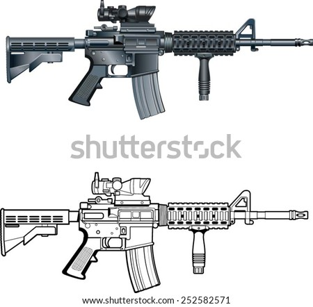 american automatic assault rifle  - stock vector
