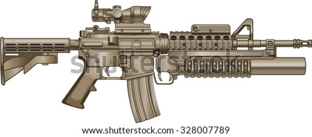 american automatic assault rifle with grenade launcher - stock vector