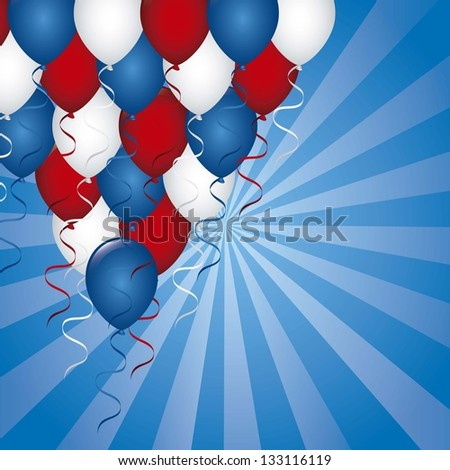 american background with balloons. vector illustration - stock vector