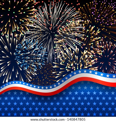 American background with fireworks, EPS 10 contains transparency. - stock vector