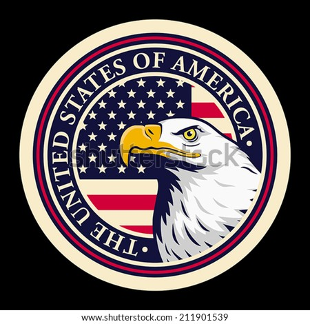 American bald eagle against USA flag background. EPS 8, CMYK - stock vector