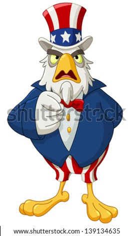 American bald eagle dressed as Uncle Sam pointing with his finger making I want you gesture - stock vector
