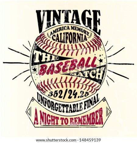 american-baseball-vintage-retro illustration handmade design - stock vector