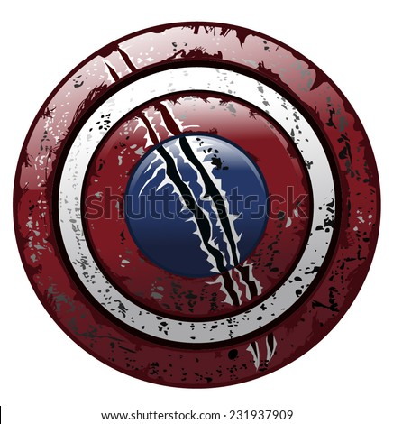 American Battle Worn Grungy Damaged Round Shield, Vector Illustration isolated on White Background. - stock vector