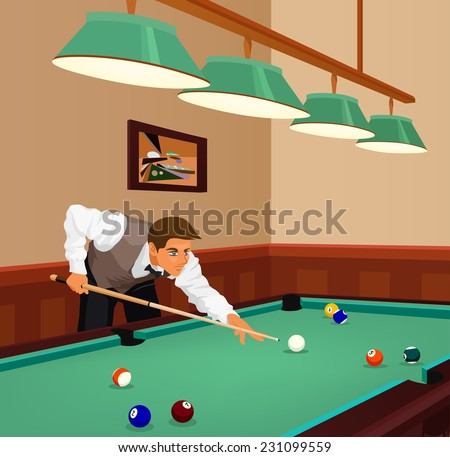 American billiards pool. Young man plays game of billiards in hall. Guy is aiming and going to make shot with a cue. Game in progress, red ball about to be potted. Color vector graphic.  - stock vector
