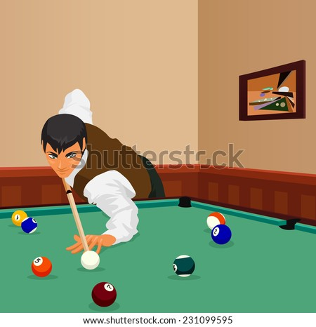 American billiards pool. Young man plays game of billiards in hall. Guy is aiming and going to make shot with a cue. Game in progress, bordo ball about to be potted. Color vector graphic.  - stock vector