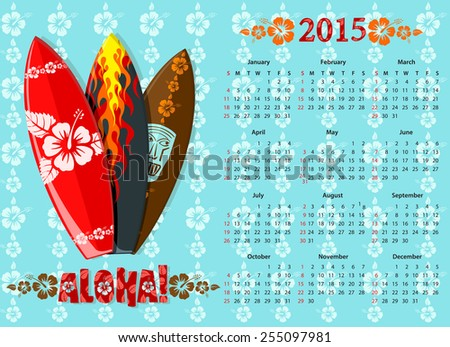 American blue Aloha vector calendar 2015 with surf boards, starting from Sundays - stock vector