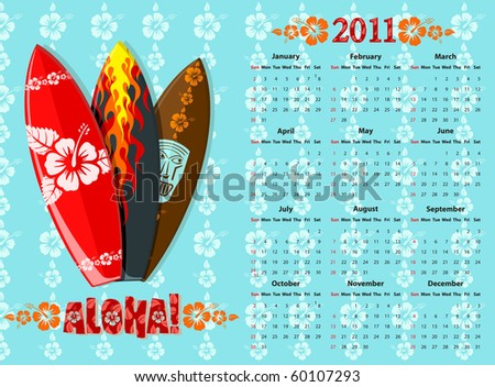 American blue Aloha vector calendar 2011 with surf boards, starting from Sundays - stock vector