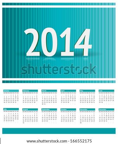 American Calendar 2014 - stock vector