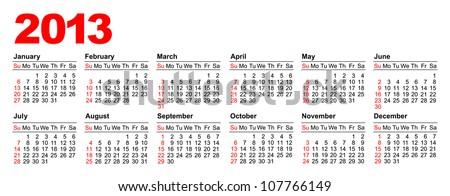 American calendar for 2013 in vector (horizontal) - stock vector