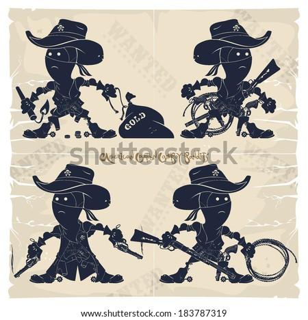 American cartoon cowboy bandits, vector - stock vector