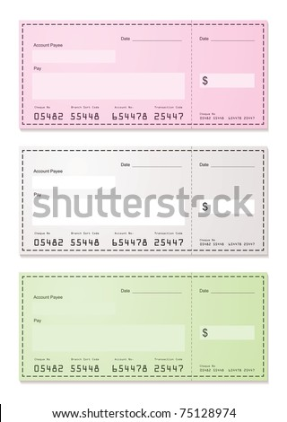 American check payment paper slip with room to add your own amounts - stock vector