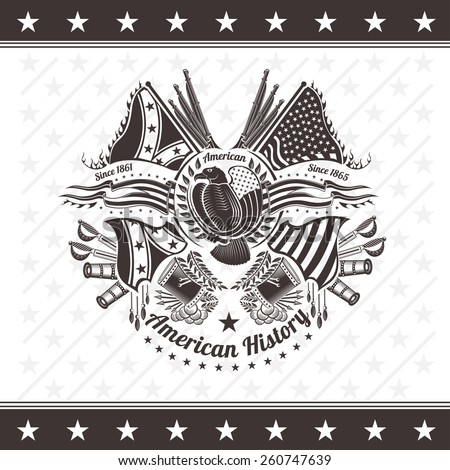american civil war military background coat of arms with eagle flags and weapons engraving - stock vector