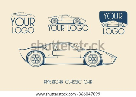 American classic sports car silhouettes, outlines, contours. Vector logotype - stock vector