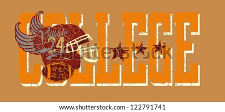 american college retro style vector art - stock vector