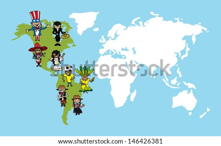 American continent cartoon persons with distinctive clothing. Vector illustration layered for easy editing. - stock vector