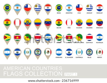 American Countries Flags Collection, Part 1 , 2  version - stock vector
