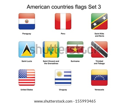 American countries flags Set 3 vector illustration - stock vector
