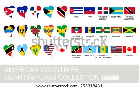 American countries set, hearts and flags, 2  version, part 2 - stock vector
