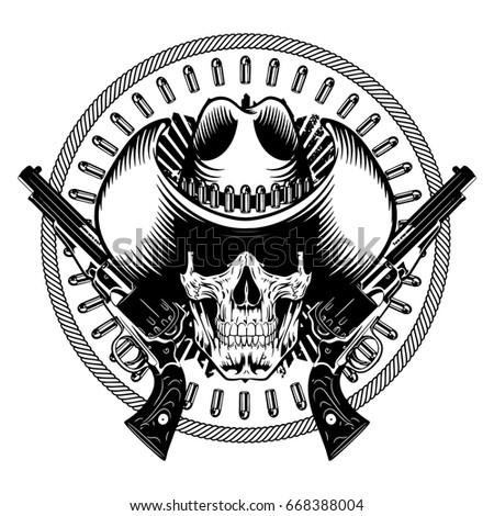 american cowboy design skull cowboy hat stock vector 668388004