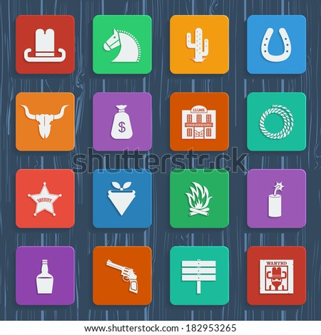 American cowboy icons. Vector wild west pictograms in flat style design - stock vector