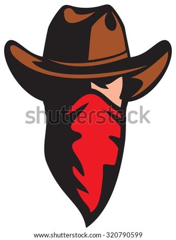 american cowboy with bandana (cowboy mascot with scarf) - stock vector