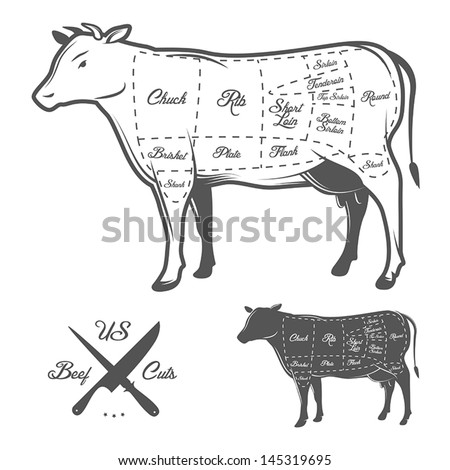 American cuts of beef - stock vector