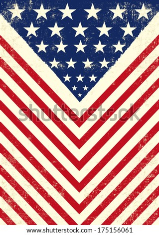 American dirty flag. An american vintage flag with a texture - stock vector