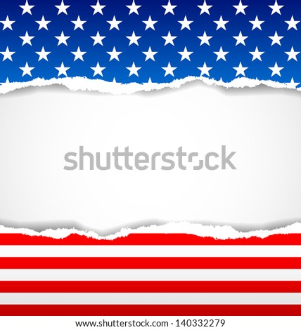 American document background made of torn papers - stock vector