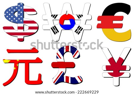 American Dollar Korean Won German Euros Chinese Yuan British Pounds and Japanese Yen flag symbols vector illustration - stock vector