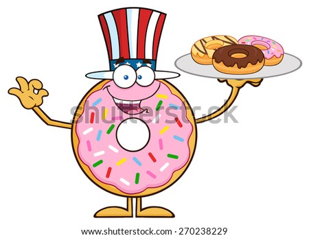 American Donut Cartoon Character Serving Donuts. Vector Illustration Isolated On White - stock vector
