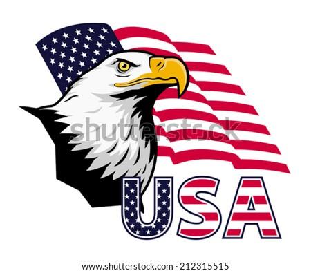 American eagle against USA flag. EPS 8, CMYK