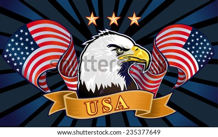 American eagle with USA flags - stock vector