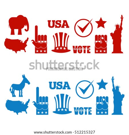 American Elections Sign Set Republican Elephant Stock Vector
